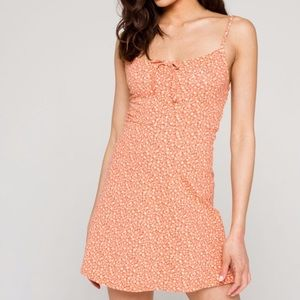 Sky And Sparrow Ditsy Peasant Coral Mini Dress